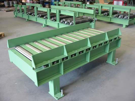 Roller conveyor for miter saw loading and unloading